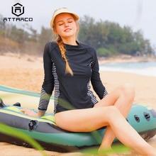 Attraco Rashguard Swimwear Women Long Sleeve Swimsuit  Rash Guard Biking Shirts Surf Top Rushguard Running Shirt UPF 50+