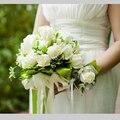 Venta caliente 2015 Rosa Blanca Ramo de Novia Ramo de la Boda Romántica Hermosa Flor de La Boda de Accesorios