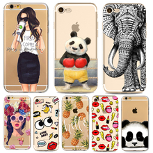 Animals Cartoon Cute Panda Phone Case for iphone 7 6 6s Plus 7Plus 6Plus 5 5s SE