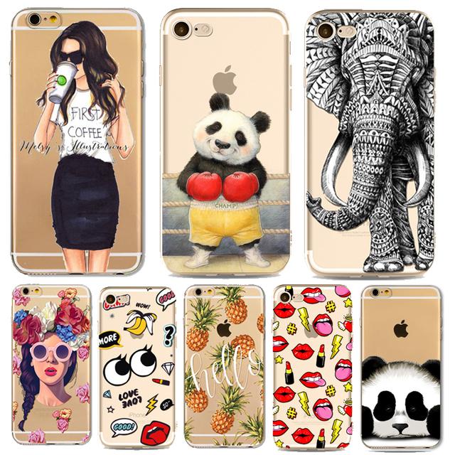 Animals Cartoon Cute Panda  Case for iphone 7 6 6s Plus 7Plus 6Plus 5 5s SE