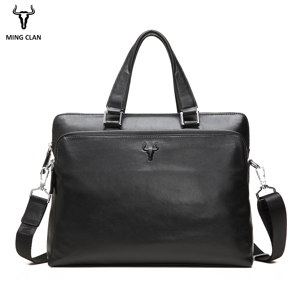 Mingclan Men Briefcase Genuine Leather Crossbody Handbag Laptop Tote Men's Travel Bags Male Business Work Office Bag