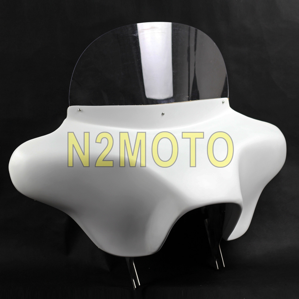 Motorcycle White Detachable Batwing Fairing 6x9 White Speaker Front Fairing Cowl for Harley Touring Road Kng