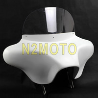 Motorcycle White Detachable Batwing Fairing 6x9 White Speaker Front Fairing Cowl for Harley Touring Road King FLHR 1994 2013