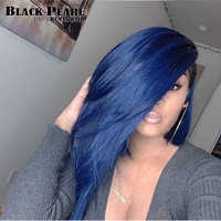 Black pearl Lace Front Human Hair Wigs Pre Plucked Hairline With Baby Hair Straight Ombre Brazilian Remy Hair Wigs For Black Wom