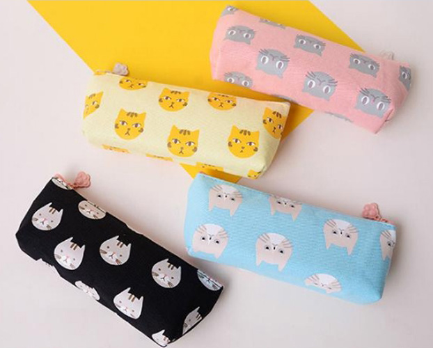 Lovely Cat design School Pencil Case Large Capacity Pencil Bag Canvas For Children Stude ...