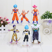 6pcs/set New Dragon Ball Z Super Saiyan Frieza Kulilin Vegeta Son Goku Piccolo Pvc Toys 10cm
