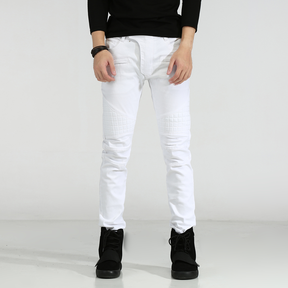 Men Jeans Slim Fit Elastic White Jeans Men Casual Biker Jeans Straight Denim Skinny Men Bermuda Jeans Masculina 2017 fashion spring jeans hip hop men rider biker jeans masculina casual denim men s slim jeans pants brand skinny jeans homme