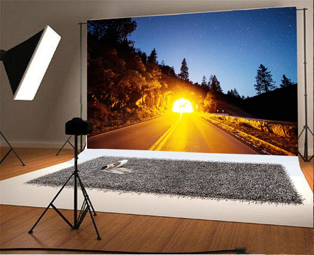 Laeacco Hillside Road Tree Traffic Light Scenic Photographic Background Customized Photography Backdrops For Photo Studio
