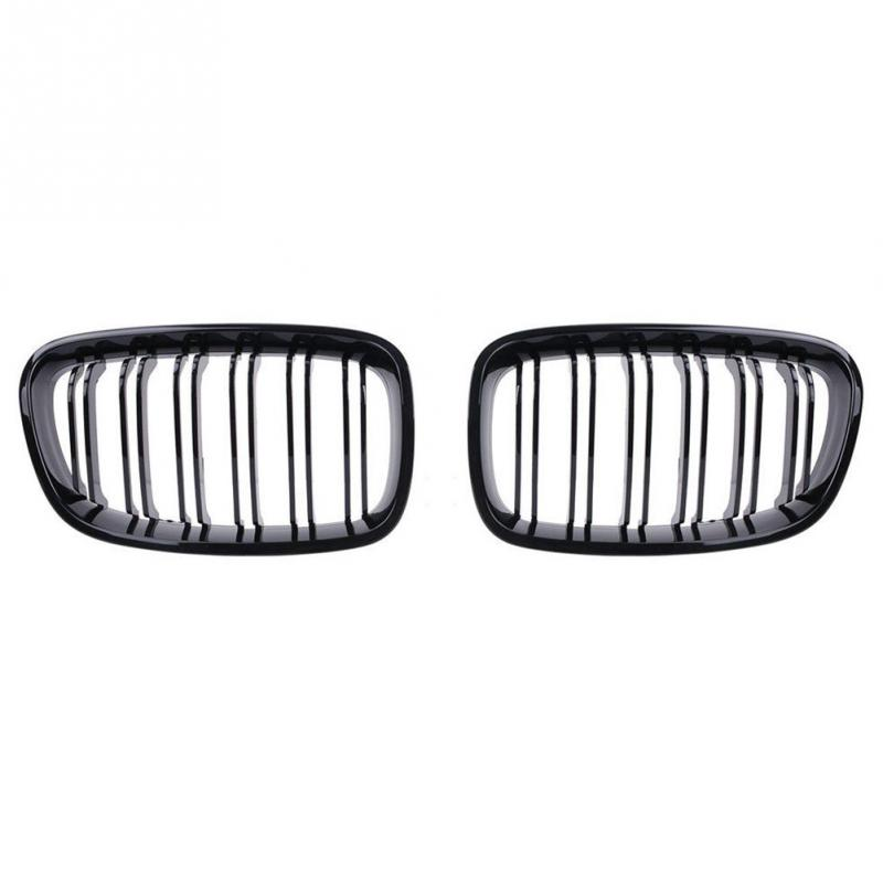 Front Center Wide Kidney Grille Gloss Black Double Line for BMW 1 Series F20 2011-2014 118i M135i 125i 120i 1 pair gloss black m color front bumper center kidney grilles for bmw x3 f25 2011 2012 2013 2014 racing grills