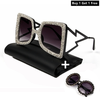 Oversize Sunglasses Women Big Wide Temple Bling Stones 2019 Fashion Shades UV400 Vintage Brand Glasses Oculos