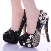 2018 Sparkling Gorgeous Formal Dress Shoes Black Pearl Bridal Shoes Crystal Peacock Tassel Popular High heeled Platform Shoes