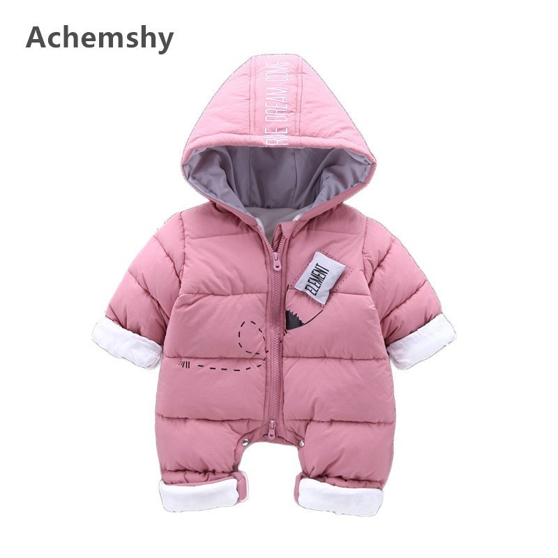 Winter Infant Velvet Thickening Clothes Baby Boys Girls Pencil Hooded Romper Kids Outwear Jumpsuit Warm 2 Colors цена 2017