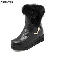 NEMAONE girl's shoes Winter   Boots   Warm Wool Snow   Boots   Women Shoes 2019 plus size Wedges Non-slip Women   Boots   large size 42 43