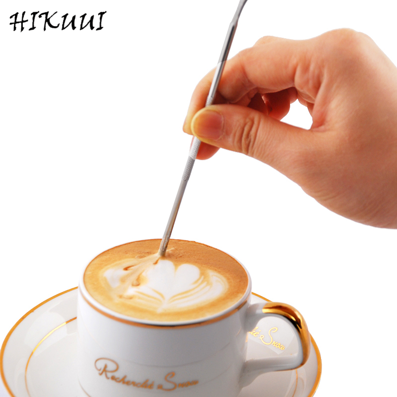 HIKUUI Caffe Latte Needle Cappuccino Flower Pin DIY Coffee Tools Garland Needle Stainless Steel Carved Stick Art Pen