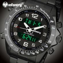 INFANTRY Hommes Double Affichage Montres Militaires Sport Montres Rétro-Éclairage En Acier Inoxydable Bracelet Réveil Montres Relojes