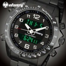 INFANTRY Men Dual Display Watches Military Sports Watches Backlight Stainless Steel Strap Alarm Clock Wristwatches Relojes