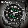 Infantry homens dual display relógios desportivos militares relógios cinta de aço inoxidável backlight relógio despertador relógios de pulso relojes
