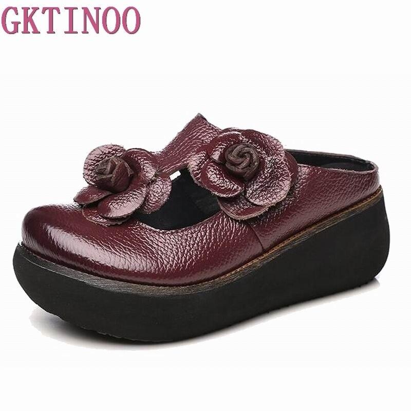 GKTINOO Summer Slippers Genuine Leather Shoes Handmade Flower Slides Flip Flops Platform Clogs For Women Wedges