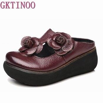 acaae5377 GKTINOO/летние шлепанцы, обувь из натуральной кожи, шлепанцы ручной работы  с цветами, шлепанцы на платформе, сабо для женщин, шлепанцы на танкет.