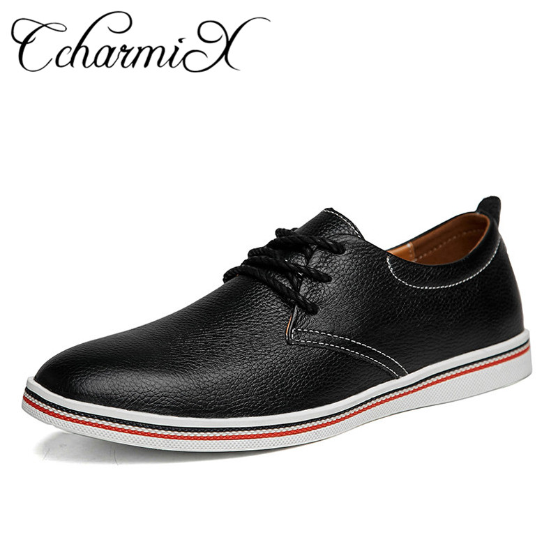 цены CcharmiX Genuine Leather Mens Dress Shoes Top Quality Pointed Business Men Formal Shoes Lace Up Real Leather Flats Men Big Size