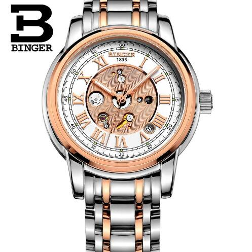 Switzerland 2017 Brand Binger Mechanical Watch Automatic Men Classic Rose Gold Leather Mechanical Wrist Watches Reloj Hombre fashion skeleton tourbillon mechanical watch men automatic classic gold leather mechanical business wrist watches reloj hombre