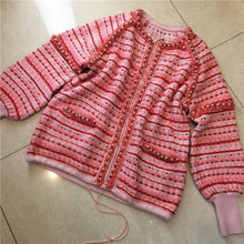 High quality  pearl rhinestone bordered lantern sleeve  wool knitted outerwear