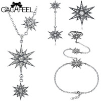 GAGAFEEL Authentic 925 Sterling Silver Sparkling Star Jewelries Sets Trendy Stackable Silver Earrings Necklaces Bracelets Charms
