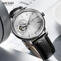 Мужские деловые механические наручные часы с кожаным ремешком  спортивные мужские повседневные часы с скелетом  мужские армейские часы ...