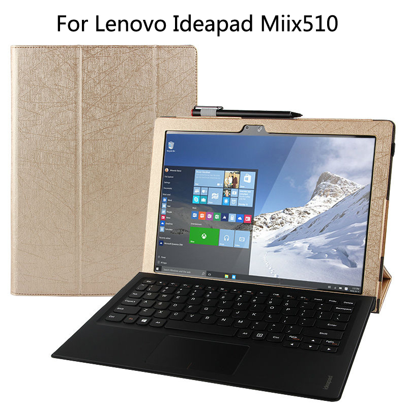 Ultra Slim Mangetic Closure Flip Stand PU Leather Cover Case For Lenovo Ideapad Miix510 Miix 510 12.2 inch Tablet + Stylus wireless removable bluetooth keyboard case cover touchpad for lenovo miix 2 3 300 10 1 thinkpad tablet 1 2 10 ideapad miix