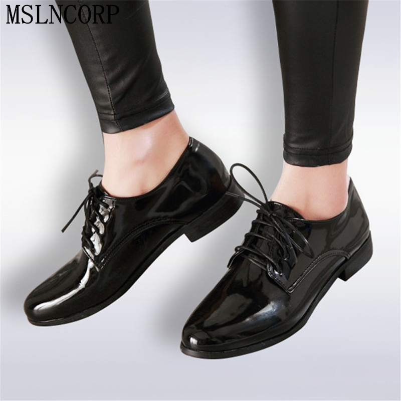 Plus Size 34-50 Spring women oxford shoes flats Loafers Ladies shoes Patent Leather lace up boat shoes round toe flats moccasins girls fashion punk shoes woman spring flats footwear lace up oxford women gold silver loafers boat shoes big size 35 43 s 18