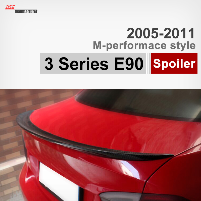 M-Performance style E90 carbon fiber trunk spoiler car wing for BMW 3 series E90 2005 to 2011 316i 318i 320i 323i 325i 330i 335i спойлер bmw e90 318i 320i 325i 330i m3