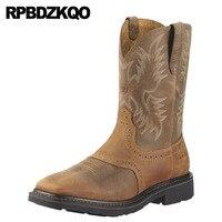 пастушка ковбойские сапоги мужская натуральная кожа Runway Квадратный носок высокие слипоны обувь вестерн стальной подносок коричневый полу