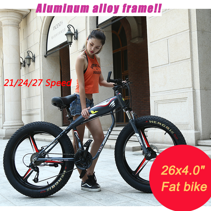 New design 21/24/27 speed Aluminum alloy frame mountain bike 26 inch electric bicycle 26x4.0 big Tire Snow Bicycle bicicleta 26 inch bike steel 6 knife wheel 21 speed aluminum frame mountain bike skateboard pedal oil spring shock absorber double disc