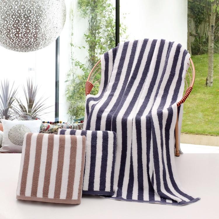 Zebra Stripes Premium 100% Cotton High Absorbent Towels Set 35x75cm Face Towel and 70x140cm Bath Towel for Home Hotel Use
