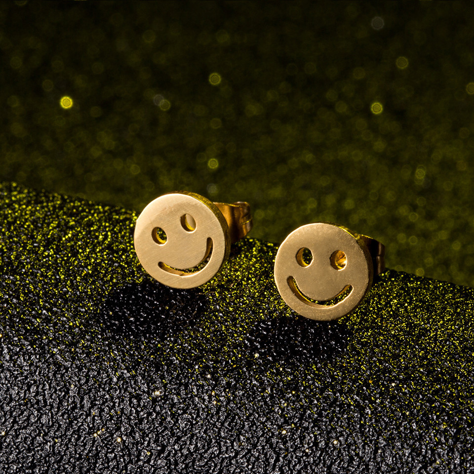 Cute smile stud earrings female women girls Lovely face happy every day golden color stainless steel earring jewelry wholesale