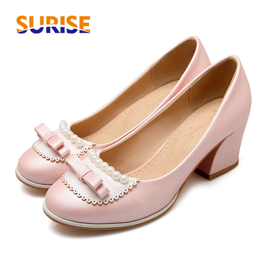 Size 43-48 Sweet Bowtie Women Pumps 6cm High Square Block Heel Round Toe PU Leather Casual Party Pink Pearl Bowknot Ladies Shoes ladylike women s pumps with round toe and bowknot design