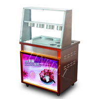 2017 New arrival brand compressor Fry ice pan machine,fried ice cream roll machine,ice pan ice cream machine with GLASS cover