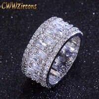 CWWZircons Luxus Breite Kreis Frauen Hochzeit Ringe AAA Zirkonia Mode Geometrische Runde CZ Braut Ring Schmuck R036