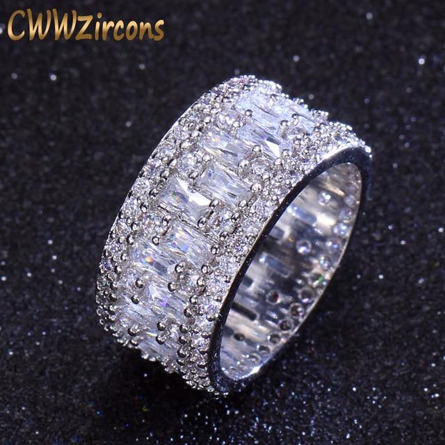 Cwwzircons Роскошные широкий круг женские обручальные кольца AAA Цирконий Мода Геометрический Круглый CZ свадебные ювелирные кольца R036