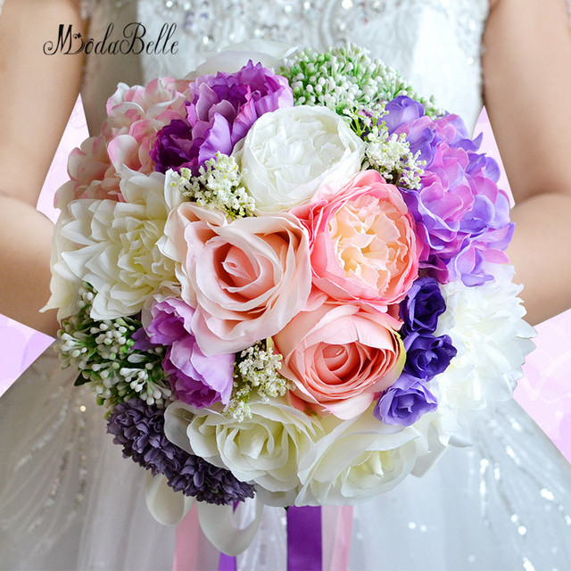 Purple And Pink Wedding Flowers: Aliexpress.com : Buy Vintage Purple Wedding Bouquets For