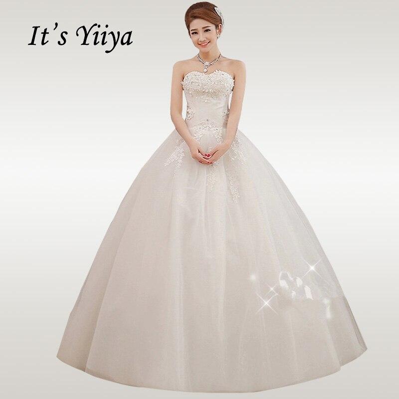 It's YiiYa Wedding Dress 2019 Strapless Appliques Wedding Dresses Elegant White Long Vestidos De Novia  Free Shipping  XXN015