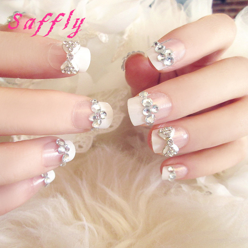Online Shop Saffly 24pcs with Diamonds Nail Tips white Butterfly ...