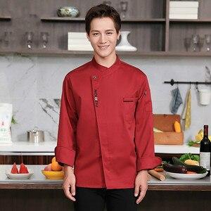 Image 4 - Unisex Chef ชุดอาหาร Cook Jacket ยาว/แขนสั้นห้องครัวเสื้อผ้า Pastry เบเกอรี่ทำอาหาร Overalls