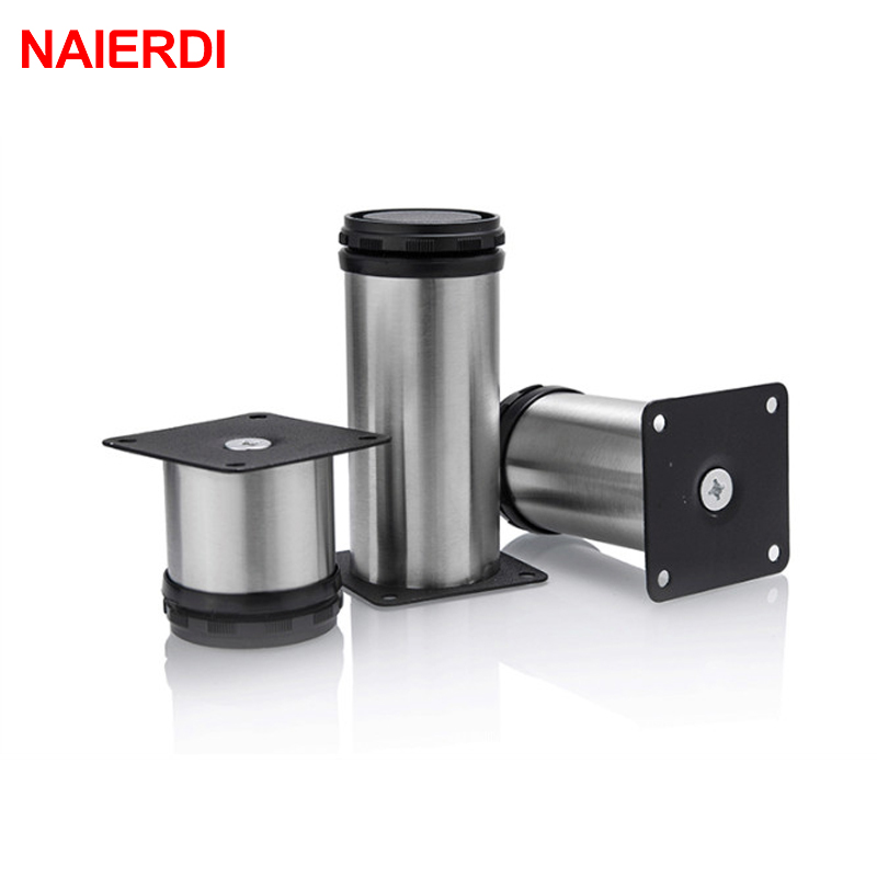 4PCS NAIERDI 5CM-30CM Furniture Adjustable Cabinet Legs Stainless Steel Table Sofa Bed Home Metal Foot With Screws Hardware bqlzr 150x63mm square shape silver black adjustable stainless steel plastic furniture legs sofa bed cupboard cabinet table bench