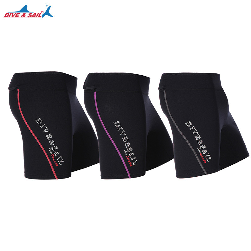 DIVE&SAIL 1.5mm Neoprene Diving Shorts Men Women Wetsuit Winter Warm Swimming Trunks Beach Short Pants for Rowing Diving Surfing