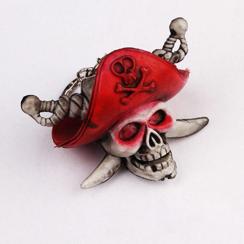 Pirates of the Caribbean keychain Skeleton key chain Rubber Pendant For Men Women Skull Bag Charm Key Ring Car Keyring