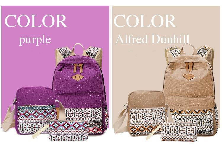 Dot Canvas Printing Backpack Women School Back Bags for Teenage Girls Cute Black Set Travel Backpacks Female Bagpack Rucksack