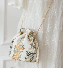 Angelatracy 2019 Lady New Arrival Mori Floral Embroidery Plant Flower Drawstring Chain Women Cross body Girl Shoulder Bucket Bag