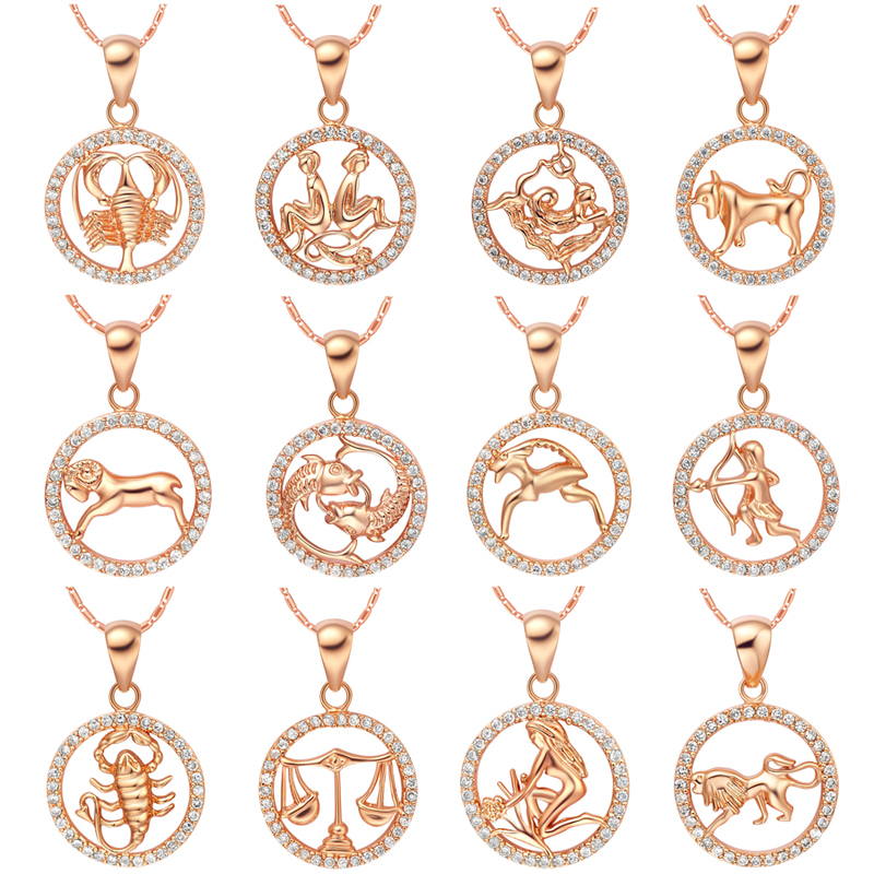 Necklace fashion jewelry silver rose gold color female twelve necklace fashion jewelry silver rose gold color female twelve constellations crystal pendants zodiac necklaces for women in pendant necklaces from jewelry mozeypictures Gallery
