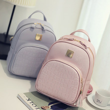 2016 New Korean Fashion PU Leather Backpacks for Teenage Girls Crocodile Pattern Small Backpack Space Embossed